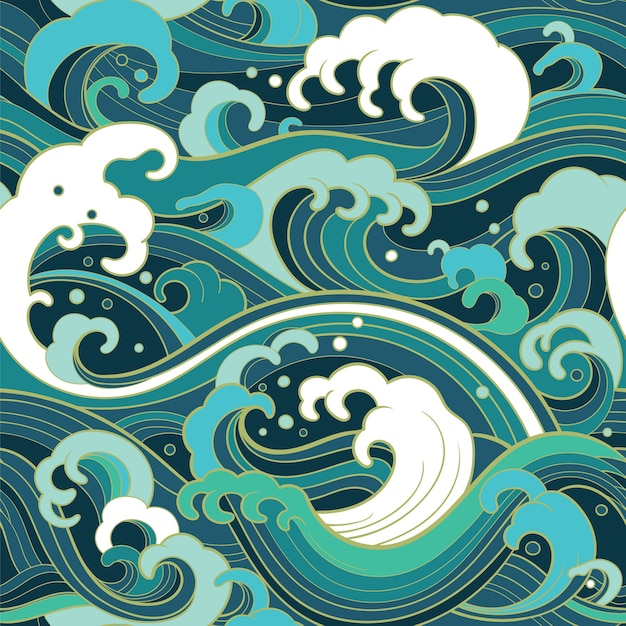 Traditional oriental seamless pattern with ocean waves Premium Vector