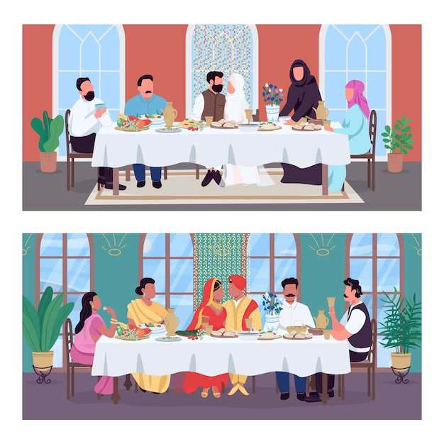 Traditional oriental wedding dinner flat color  set. indian and muslim marriage. cultural diversity