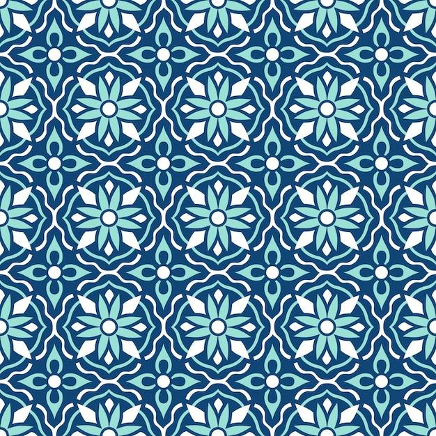 Традиционные богато украшенные португальские плитки азулежу. этнический народный орнамент. винтажный образец. майолика. Premium векторы