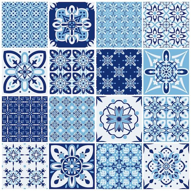 伝統的な華やかなポルトガルのタイル。テキスタイルデザインのパターン。幾何学的なモザイク、マジョリカ。 Premiumベクター