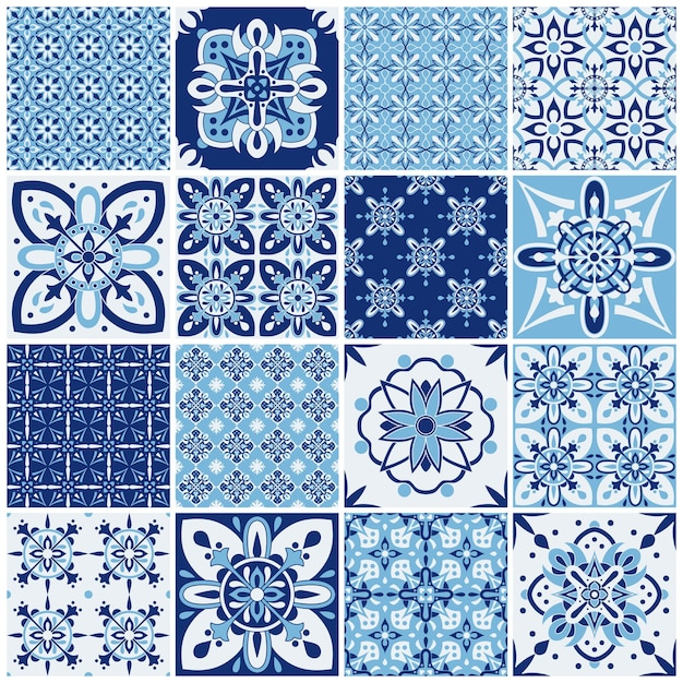 Traditional ornate portuguese tiles. pattern for textile design. geometric mosaic, majolica. Premium Vector