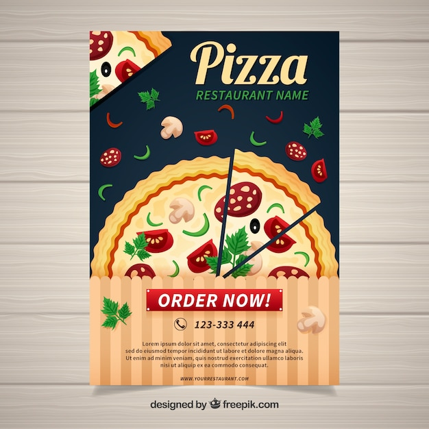Traditional pizza restaurant poster Vector | Free Download
