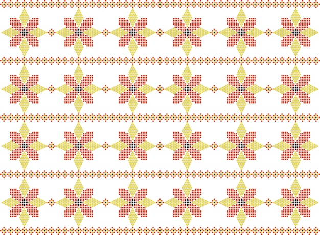 Traditional romanian folk art knitted embroidery pattern Premium Vector