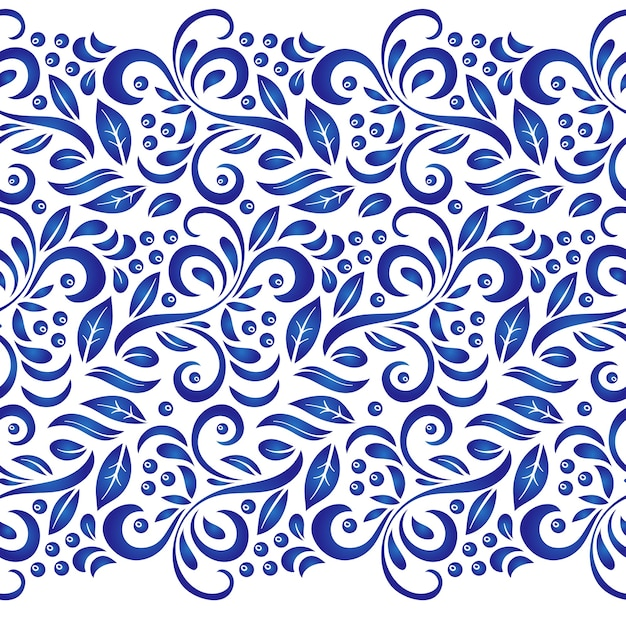 Traditional russian vector seamless pattern in gzhel style. Premium Vector
