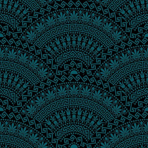 Традиционные бесшовные винтажные темные веерообразные декоративные элементы с греческими узорами, меандр Premium векторы