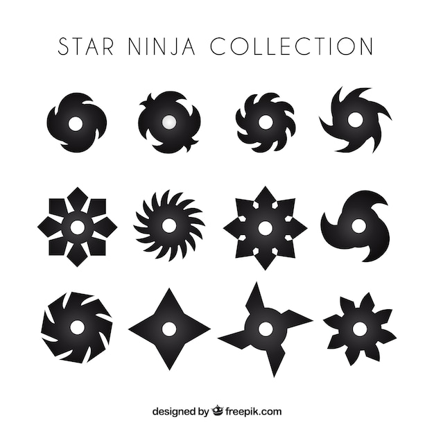 Traditional set of ninja stars with flat design Premium Vector