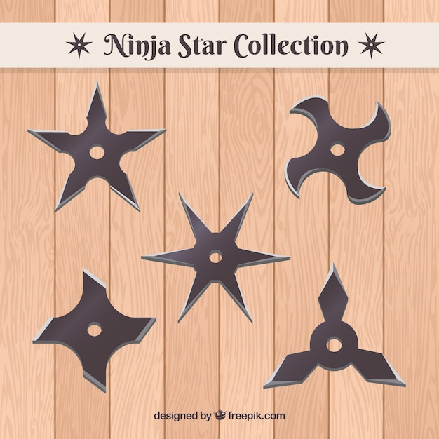 Traditional set of ninja stars with flat design Free Vector