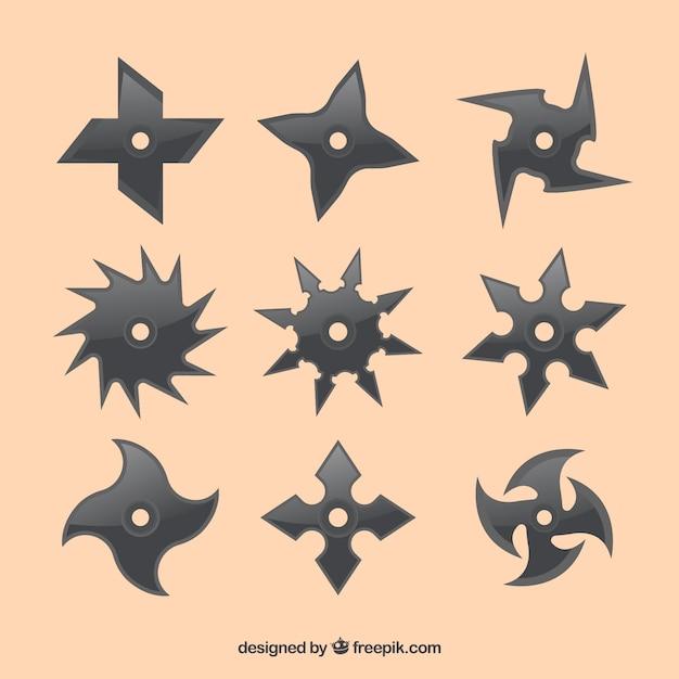 Traditional set of ninja stars with flat\ design