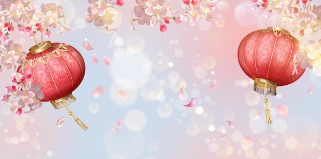 꽃잎과 실크 등불을 날리는 전통적인 봄 축제 배경. 중국 새 해 배경 프리미엄 벡터