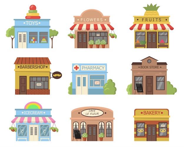 Набор фасадов традиционных магазинов Бесплатные векторы