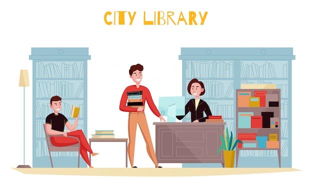 Композиция интерьера библиотеки в традиционном стиле с покупателями книг, консультирующими библиотекаря с книжными полками Бесплатные векторы