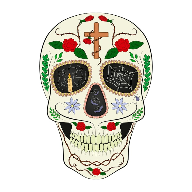 Traditional sugar skull. element of design for the day of the dead Premium Vector