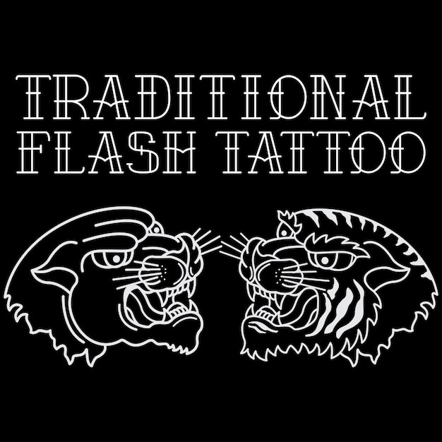 Traditional tattoo head tiger and black panther Premium Vector