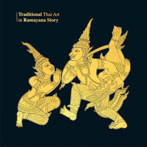 Traditional thai art in ramayana story, style vector Vector