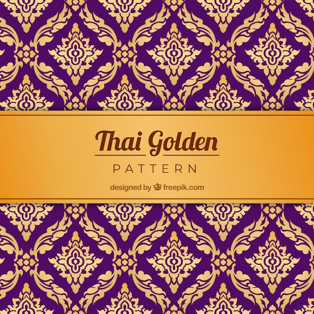 Traditional thai pattern with golden style Free Vector