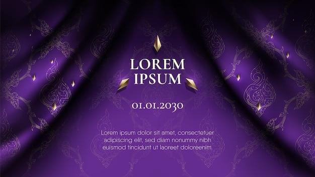 Traditional thai purple curtain Premium Vector