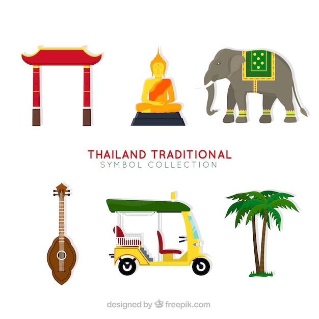Traditional thailand elements Free Vector