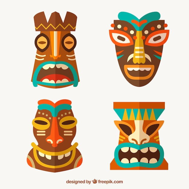 Traditional tiki mask collection