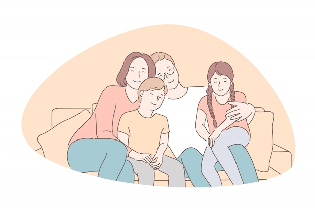 Traditional values, bonding, family idyll concept Premium Vector