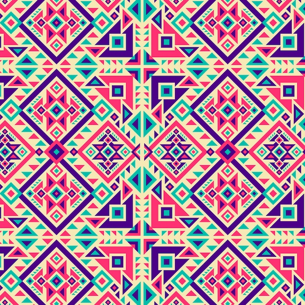 Traditional vivid coloured shapes songket pattern Premium Vector
