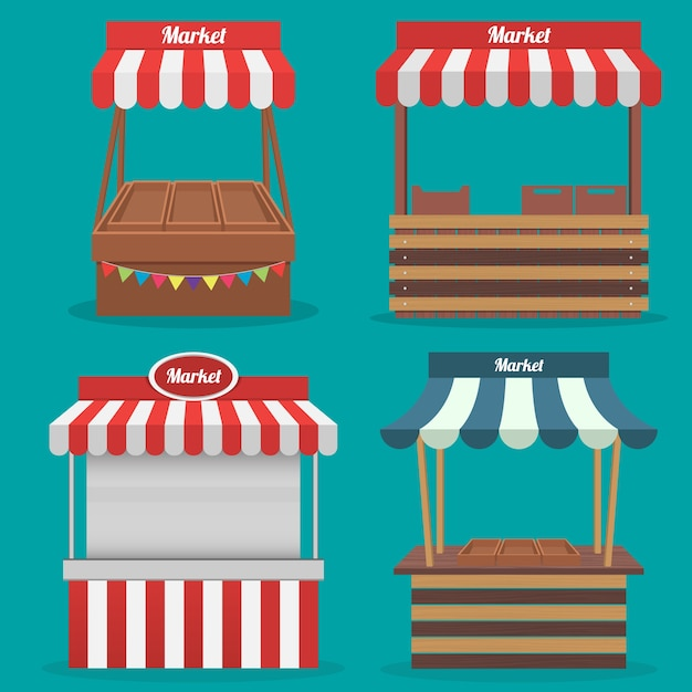 Traditional Wooden Market Food Premium Vector