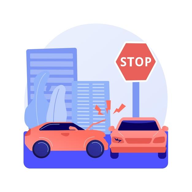Дорожно-транспортное происшествие абстрактное понятие векторные иллюстрации. отчет о дорожно-транспортных происшествиях, нарушение правил дорожного движения, расследование одной автомобильной аварии, статистика травм, абстрактная метафора столкновения нескольких транспортных средств. Бесплатные векторы