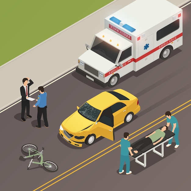 Traffic accident scene isometric composition Free Vector