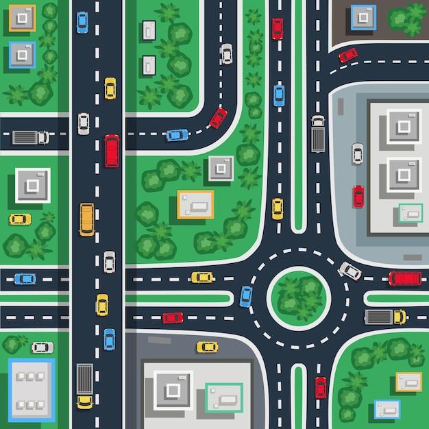 Traffic city top flat Free Vector