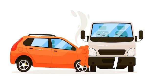 交通事故。車は白い背景で隔離の輸送バントラックにぶつかった。輸送イラストとの衝突後の自動車傷害との交通衝突 Premiumベクター