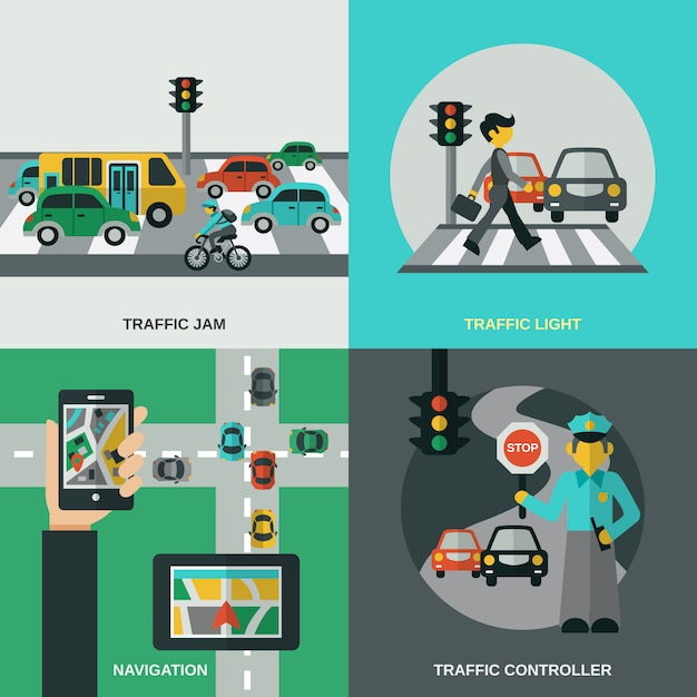 Traffic concept set Free Vector