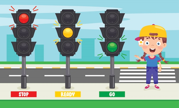 Traffic concept with funny characters Premium Vector