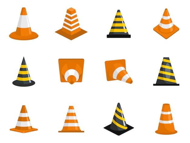 Traffic cone icons set Premium Vector