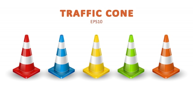 Traffic cones collection. isometric set of colorful icons for web design isolated on white background. realistic illustration. Premium Vector