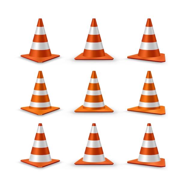 Traffic cones set. red realistic road plastic cones with white striped,  illustration Premium Vector