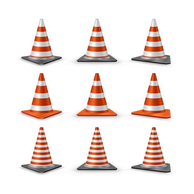 Traffic cones set Premium Vector