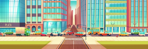 Traffic congestion in city cartoon vector concept Free Vector