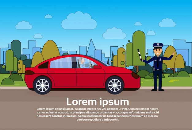 Traffic controller policeman on road with car over city Premium Vector