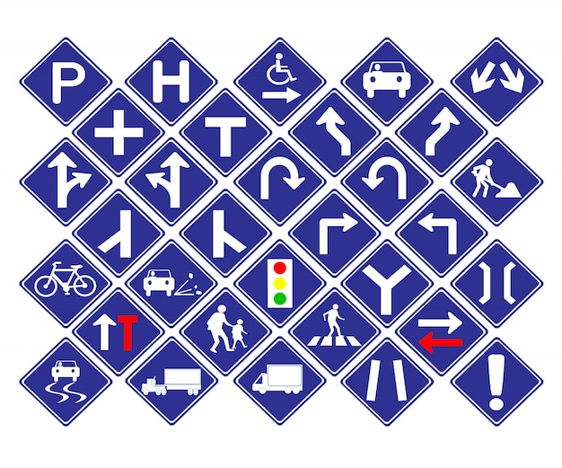 Traffic diamond shape blue road sign Premium Vector