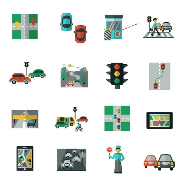 Traffic icons flat set Premium Vector
