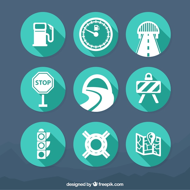 Traffic icons Free Vector