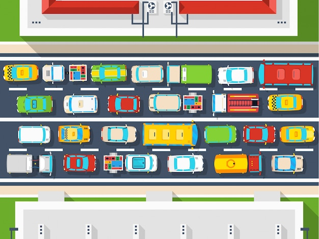 Traffic jam top view poster Free Vector