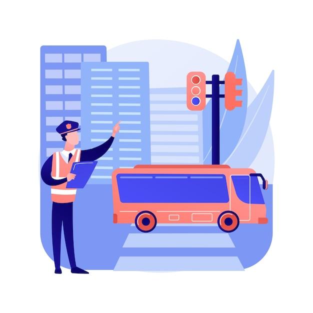 Illustrazione di vettore di concetto astratto di leggi stradali. codice del traffico, obbedire a leggi e regolamenti, patente di guida, regole di circolazione dei veicoli, sicurezza stradale, ammenda di violazione, metafora astratta internazionale. Vettore gratuito