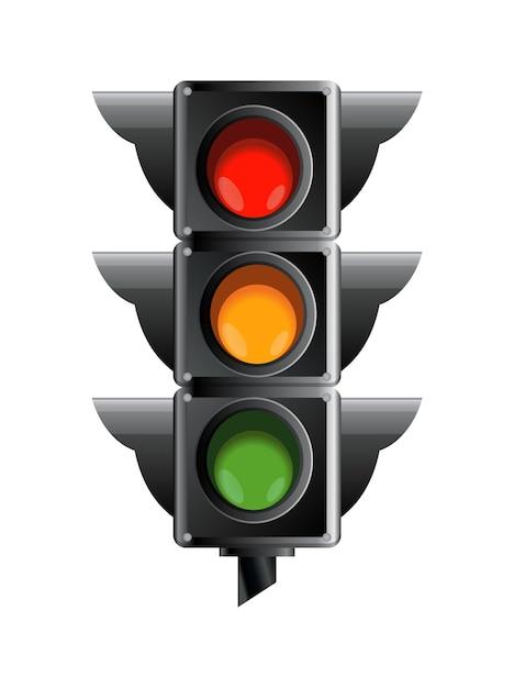 빨간색, 노란색 및 녹색 색상의 신호등. 프리미엄 벡터