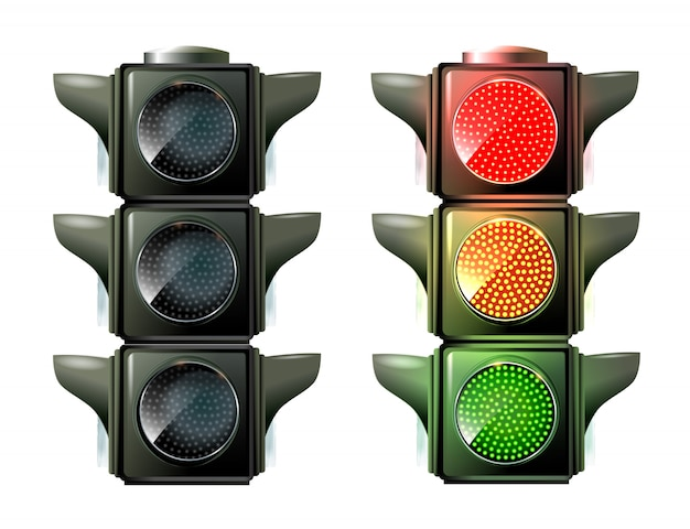 Traffic lights isolated on white Premium Vector