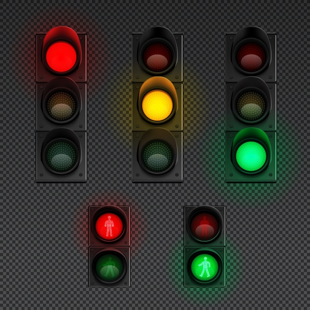 Traffic lights realistic transparent icon set with traffic light for pedestrians and different others  illustration Free Vector