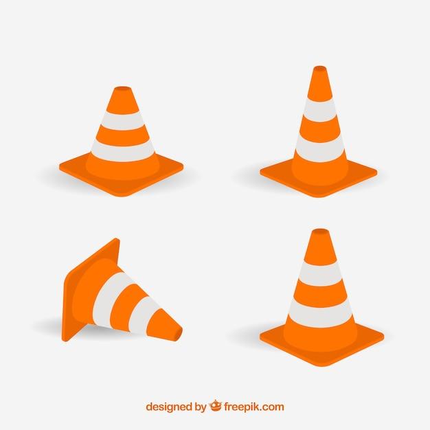 Traffic orange cone labels Premium Vector