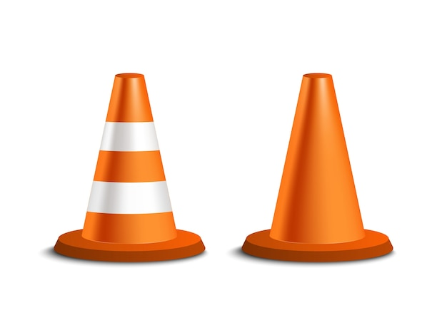 Traffic road cone isolated on white background Premium Vector