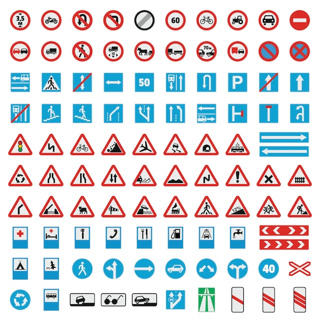 Traffic road sign collection icons set Premium Vector