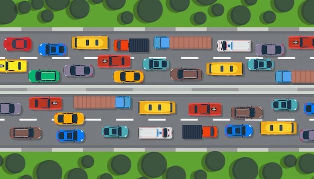 Traffic road top view highway city Premium Vector