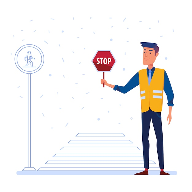 Traffic security guard with stop sign in front of the crosswalk. Premium Vector